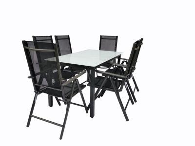 VCM Alu Sitzgruppe 140x80 Mattglas Gartenmöbel Gartengarnitur Tisch Stuhl Essgruppe Gartenset, inkl. 4 Stühle schwarz