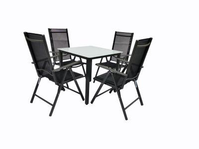 VCM Alu Sitzgruppe 80x80 Mattglas Gartenmöbel Gartengarnitur Tisch Stuhl Essgruppe Gartenset, inkl. 4 Stühle schwarz
