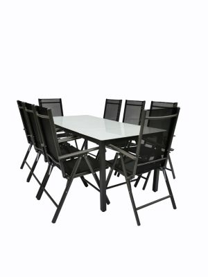 VCM Alu Sitzgruppe 190x80 Mattglas Gartenmöbel Gartengarnitur Tisch Stuhl Essgruppe Gartenset, inkl. 6 Stühle anthrazit