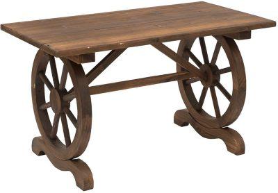 Outsunny Gartentisch im Wagenrad-Design natur