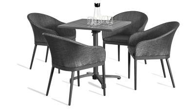 Grasekamp Terassenset Sol 5 teilig Klapptisch und  4x Sessel Aluminium/Textilene Gartenmöbelsets anthrazit