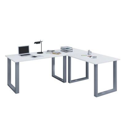 VCM Eckschreibtisch, Schreibtisch, Büromöbel, Computertisch, Winkeltisch, Tisch, Büro, Lona, 160 x 160 x 80 weiß