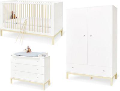 Pinolino Komplett Kinderzimmer Skadi breit, 3-tlg., weiß (Kinderbett, Wickelkommode, Kleiderschrank)