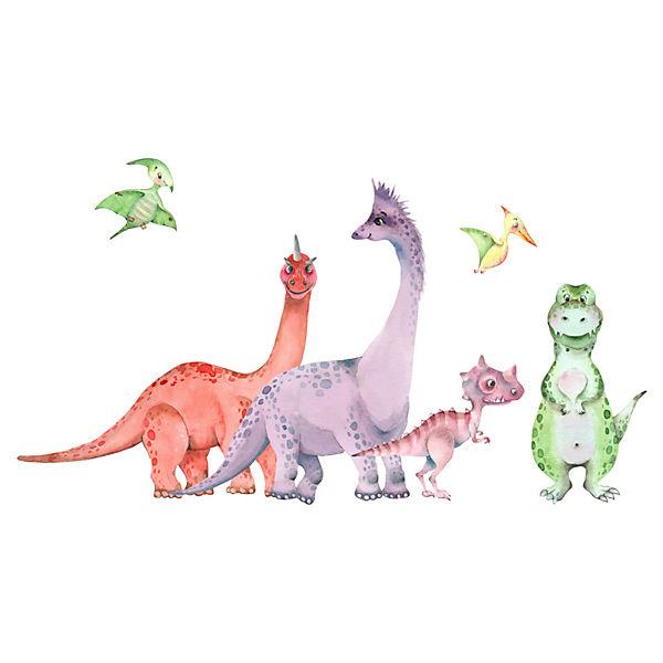 Wandtattoo Aquarell Tiere Dino Land Und Luft Mehrfarbig Dekodino Yomonda
