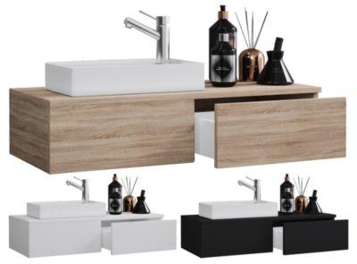 VCM 2-tlg. Waschplatz Waschtisch Waschbecken Schrank Badmöbel WC Gäste Toilette klein schmal