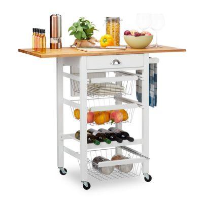 relaxdays Küchenwagen mit klappbarer Arbeitsplatte weiß