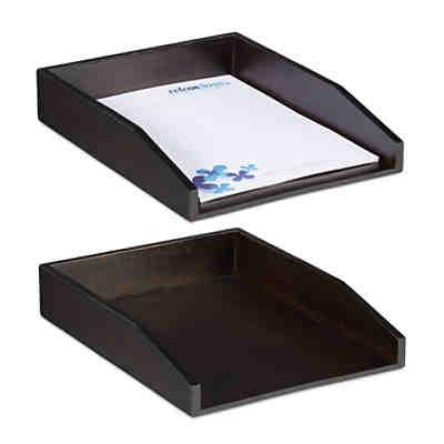6 x Dokumentenablage A4 Holzablage Büro Briefablage Schreibtischablage stapelbar