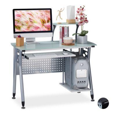 relaxdays Moderner Computertisch mit Glasplatte weiß