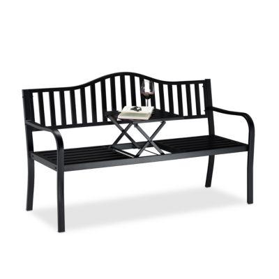 relaxdays Gartenbank mit ausklappbarem Tisch schwarz