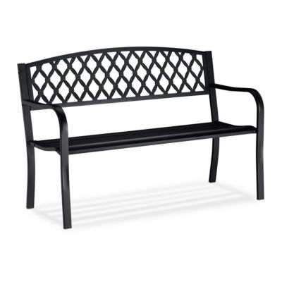 relaxdays Metall Gartenbank mit Flechtmuster schwarz