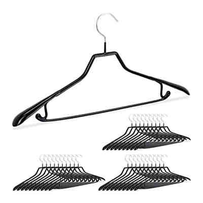 schwarz Kleiderbügel gummiert Metall 30 x Anzugbügel Hosenbügel rutschfest