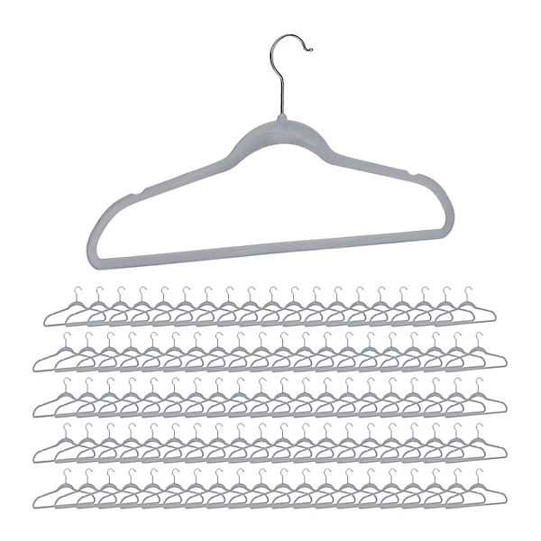 100 x Kleiderbügel Samtbügel Rockbügel Hosenbügel Clothes Hanger grau drehbar