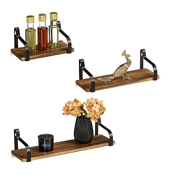 MDF blau Relaxdays Regalbrett 3er Set Wandboard Holz U-Form Wandregal Gew/ürzregal h/ängend H/ängeregal Wand