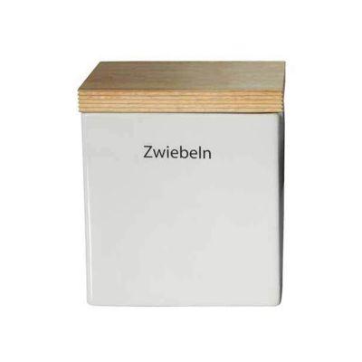 Vorratsdose mit Holzdeckel Vorratsdose mit Holzdeckel, weiß, Continenta