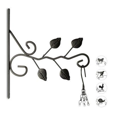 relaxdays 1 x Blumenhaken Blätter, Ampelhalter Blumenampelhaken, Wandhänger Laterne Metall schwarz   Dekoration > Dekopflanzen > Blumenampeln   relaxdays