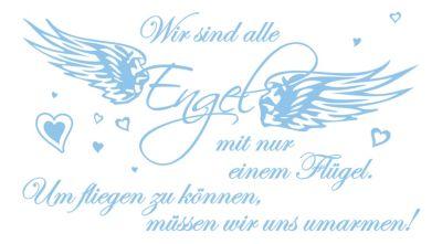 dekodino Wandtattoo Liebe Wir sind alle Engel hellblau | Dekoration > Figuren und Skulpturen > Engel | dekodino