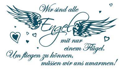 dekodino Wandtattoo Liebe Wir sind alle Engel petrol | Dekoration > Figuren und Skulpturen > Engel | dekodino