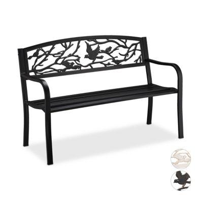 relaxdays Gartenbank Vögel Design schwarz