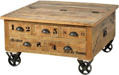 SIT Couchtisch mit Schubladen und Rollen, 90x90x47cm braun-kombi