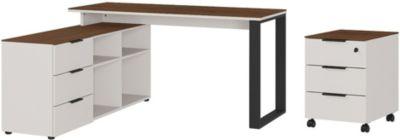 GERMANIA Schreibtisch mit Rollcontainer ANCONA weiß/beige