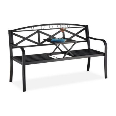 relaxdays Gartenbank mit Tisch schwarz