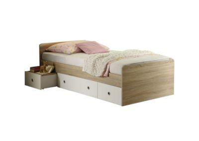 TICAA Einzelbett Vicky Sonoma-Weiß braun/weiß Gr. 90 x 200