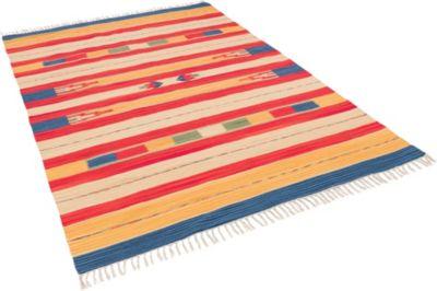 Baumwolle Natur Kelim Teppich Lina Bunt Modern