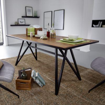 WOHNLING Esstisch Sheesham Massivholz / Metall Esszimmertisch Küchentisch Massiv Holztisch mit Metallgestell braun