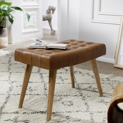 WOHNLING Sitzhocker 67x47x39 cm Mango Massivholz / Echtleder Chesterfield-Design Lederhocker Beistellhocker braun