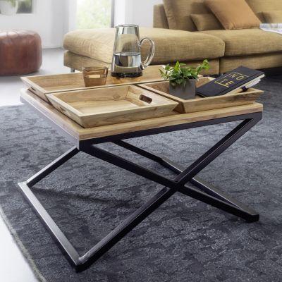WOHNLING Couchtisch 60x47,5x60 cm Akazie Massivholz Tabletttisch Wohnzimmertisch Sofatisch Tisch Wohnzimmer braun