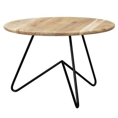WOHNLING Couchtisch 60x39,5x60 cm Akazie Massivholz Sofatisch Wohnzimmertisch Kaffeetisch Tisch Wohnzimmer braun