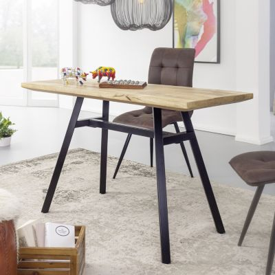 WOHNLING Esstisch Mango Massivholz Esszimmertisch Küchentisch Massiv Metallgestell Holztisch Industrial Tisch braun