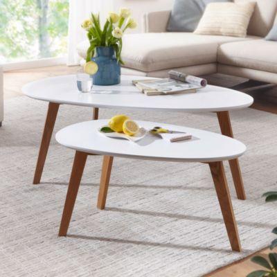 WOHNLING Couchtisch 2er Set Weiß Skandinavischer Wohnzimmertisch Satztisch Retro Dreibein Beistelltisch Holz weiß