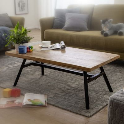 WOHNLING Couchtisch Mango Massivholz 110x42,5x60 cm Wohnzimmertisch Tisch Echtholz/Edelstahl Sofatisch Massiv braun