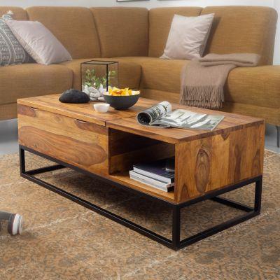 WOHNLING Couchtisch Sheesham Massivholz 110x40x50 cm Sofatisch Wohnzimmertisch Tisch Tischplatte aufklappbar braun