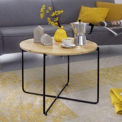 WOHNLING Couchtisch 60 cm Akazie Massivholz Sofatisch Wohnzimmertisch Kaffeetisch Massiv Tisch Wohnzimmer braun