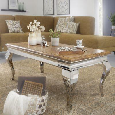 WOHNLING Couchtisch 110x45,5x60 cm Wohnzimmer Sheesham Massivholz Wohnzimmertisch mit Metallbeinen Sofatisch bunt