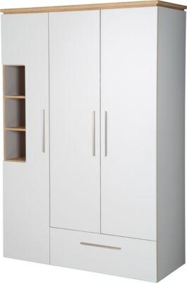 Roba Kleiderschrank 'Tobi', 3 Türen, 1 Schublade, mit Soft Close-Technik, Drehtürenschrank weiß/beige