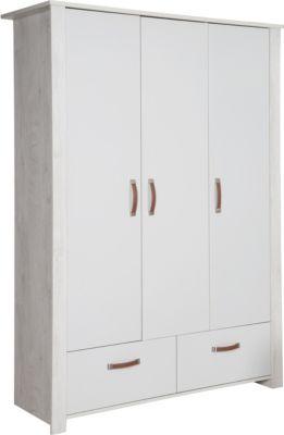 Roba Kleiderschrank 'Mila' 3 Türen, 2 Schubladen, Soft Close-Technik, Drehtürenschrank, grau/weiß weiß/beige