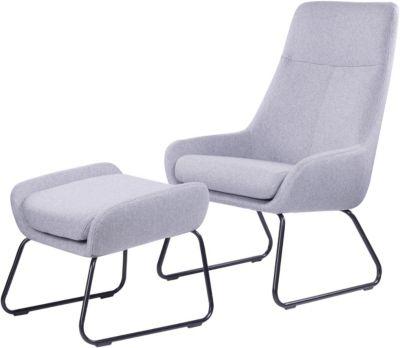 SIT Sessel mit Fußhocker, 64x77x107,5cm hellgrau