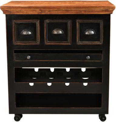 SIT Küchenwagen mit 3 Schubladen, herausnehmbares Tablett, 78x48x85cm schwarz