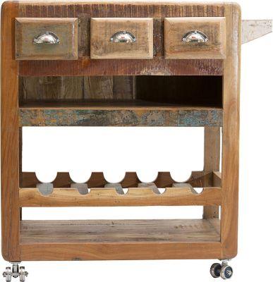 SIT Küchenwagen mit 3 Schubladen, 2 Ablagen und Flaschenablage, 78x48x85cm braun
