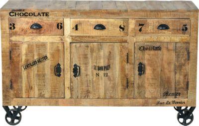 SIT Sideboard mit Rollen, 140x40x86cm hellbraun