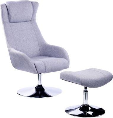 SIT Sessel mit Fußhocker, 71x85,5x120,5cm hellgrau