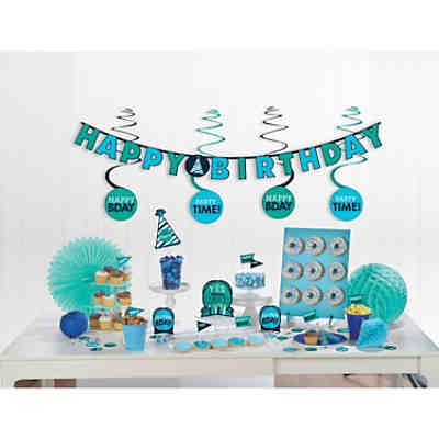 Mini-Deko-Set Birthday Accessories Blau Papier, 37-tlg.
