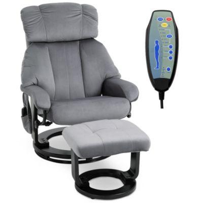 HOMCOM Massagesessel mit Fußhocker grau