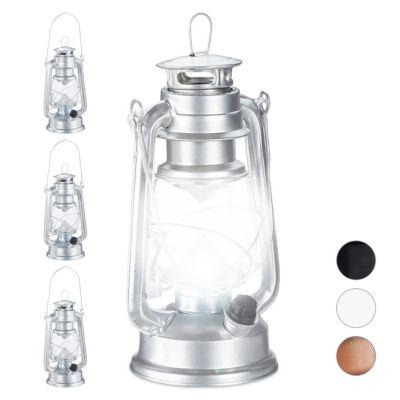 relaxdays 4 x Sturmlaterne LED, Campingleuchte, Retro Sturmlampe silber, Ca günstig online kaufen