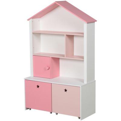 HOMCOM Kinderregal mit Schubladen rosa