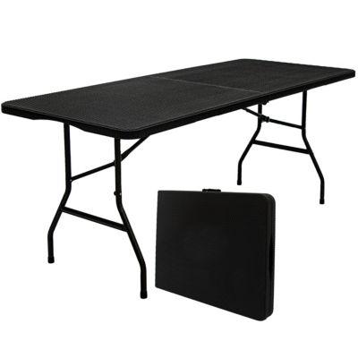 AMANKA Gartentisch 6 Personen - 180 x 74cm Rattan-Look Esstisch schwarz  Kinder