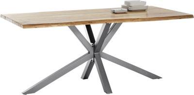 SIT Esstisch, 200x100x80cm braun/silber Gr. 200 x 100